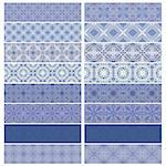 Blue trim or border collection over white background Stock Photo - Royalty-Free, Artist: karanta                       , Code: 400-04418297