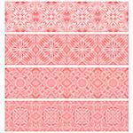 Pink trim or border collection over white background Stock Photo - Royalty-Free, Artist: karanta                       , Code: 400-04418331