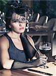 Fashion woman retro portrait in a restaurant Stock Photo - Royalty-Free, Artist: GoodOlga                      , Code: 400-04418384