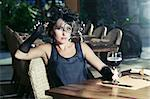Fashion woman retro portrait in a restaurant Stock Photo - Royalty-Free, Artist: GoodOlga                      , Code: 400-04418385
