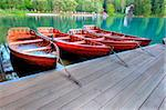 Boats on alpine lake in early morning Stock Photo - Royalty-Free, Artist: samotrebizan                  , Code: 400-04418829