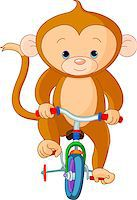 smiling chimpanzee - Monkey  on Bicycle in circus Stock Photo - Royalty-Freenull, Code: 400-04419108
