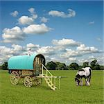 Old Gypsy Caravan, Trailer, Wagon with Horse Stock Photo - Royalty-Free, Artist: Binkski                       , Code: 400-04419338