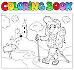 Coloring book with hiker boy - vector illustration.
