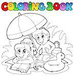 Coloring book with summer theme 2 - vector illustration. Stock Photo - Royalty-Free, Artist: clairev                       , Code: 400-04419379