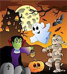 Scene with haunted house 1 - vector illustration. Stock Photo - Royalty-Free, Artist: clairev                       , Code: 400-04419397