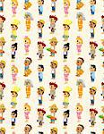 cartoon people job seamless pattern