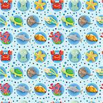 cartoon Aquarium animal seamless pattern Stock Photo - Royalty-Free, Artist: notkoo2008                    , Code: 400-04419693