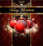 Elegant Merry Christmas and Happy New Year background with vintage seamless wallpaper and glossy baubles. Stock Photo - Royalty-Free, Artist: DavidArts                     , Code: 400-04419747