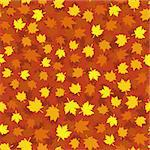 Autumn seamless background with maple leaves, vector illustration Stock Photo - Royalty-Free, Artist: MarketOlya                    , Code: 400-04419751