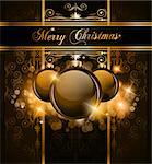 Elegant Merry Christmas and Happy New Year background with vintage seamless wallpaper and glossy baubles. Stock Photo - Royalty-Free, Artist: DavidArts                     , Code: 400-04419754