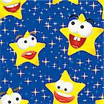 Funny stars in the night sky, seamless background, vector illustration Stock Photo - Royalty-Free, Artist: MarketOlya                    , Code: 400-04419756