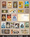 Collection of Vintage Postage Stamps with Various Themes and prices. Empty  distressed postcards and rubber stamps are included Stock Photo - Royalty-Free, Artist: DavidArts                     , Code: 400-04419772