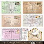 Old style distressed postcards (set 2)with a lot of post stamps with vintage designs. Rubber stamps included. Stock Photo - Royalty-Free, Artist: DavidArts                     , Code: 400-04419792