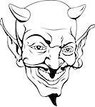 A black and white cartoon style devil face Stock Photo - Royalty-Free, Artist: Krisdog                       , Code: 400-04419830