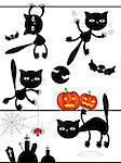 Vector Halloween black cats Stock Photo - Royalty-Free, Artist: Irins                         , Code: 400-04419896