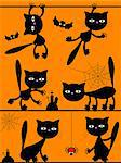 Vector Halloween black cats Stock Photo - Royalty-Free, Artist: Irins                         , Code: 400-04419900