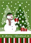 vector Christmas card with snowman, Christmas tree and gifts, Adobe Illustrator 8 format Stock Photo - Royalty-Free, Artist: beta757                       , Code: 400-04420411
