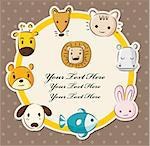 cartoon animal head card Stock Photo - Royalty-Free, Artist: notkoo2008                    , Code: 400-04420810