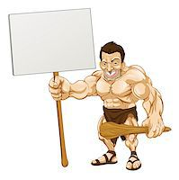 A cartoon illustration of a muscular caveman holding a sign Stock Photo - Royalty-Freenull, Code: 400-04421089