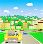 Funny taxi driver in summer city Stock Photo - Royalty-Free, Artist: keltt                         , Code: 400-04421275