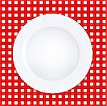 White Plate On Checkered Tablecloth, Vector Illustration Stock Photo - Royalty-Free, Artist: adamson                       , Code: 400-04421341