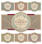 set of 7 color variations of a vintage label set; scalable and editable vector illustration - grunge effect in separate layer; Stock Photo - Royalty-Free, Artist: milalala                      , Code: 400-04421716
