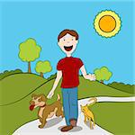 Man walking with his cat and dog in the park. Stock Photo - Royalty-Free, Artist: cteconsulting                 , Code: 400-04422201