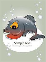 piranha fish - Vector picture of gray piranha Stock Photo - Royalty-Freenull, Code: 400-04422897