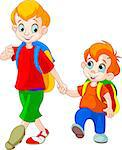 Illustration of two brothers go to school Stock Photo - Royalty-Free, Artist: Dazdraperma                   , Code: 400-04422969