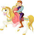 Prince and princess  on white horse