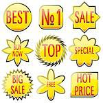 Set of shiny yellow glass sale buttons with red text, vector illustration Stock Photo - Royalty-Free, Artist: MarketOlya                    , Code: 400-04423157