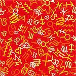 Red seamless pattern with zodiac icons, vector illustration Stock Photo - Royalty-Free, Artist: MarketOlya                    , Code: 400-04423159