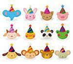 cartoon party animal head icon set Stock Photo - Royalty-Free, Artist: notkoo2008                    , Code: 400-04423172