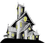 Halloween illustration of a haunted ghost house Stock Photo - Royalty-Free, Artist: Krisdog                       , Code: 400-04423567