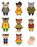 cartoon cat family icon set   Stock Photo - Royalty-Free, Artist: notkoo2008                    , Code: 400-04423583