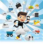 Cloud network,with business man hold pad. Stock Photo - Royalty-Free, Artist: notkoo2008                    , Code: 400-04423590