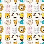 Cartoon animal head seamless pattern Stock Photo - Royalty-Free, Artist: notkoo2008                    , Code: 400-04424419