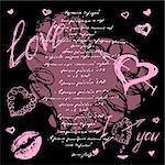 The valentine's day. Love heart. Hand-drawn icons, symbols.  Background letter pink
