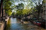 sun shine over canal with trees overhanging (Leliegracht)