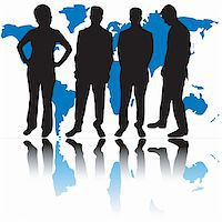 Group of business people and world map Stock Photo - Royalty-Freenull, Code: 400-04428113