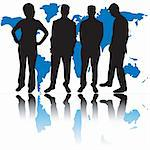 Group of business people and world map