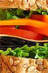 Big healthy sandwich with vegetables and meat close up Stock Photo - Royalty-Free, Artist: Elenathewise                  , Code: 400-04430720