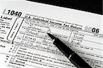 Detail view of an Income Tax form about to be completed Stock Photo - Royalty-Free, Artist: robhillphoto                  , Code: 400-04431673