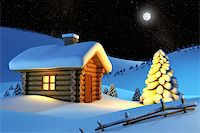 christmas house and fir-tree in snow-drift mountain landscape Stock Photo - Royalty-Freenull, Code: 400-04443549