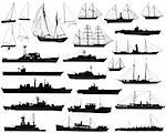 Collection of detailed vector boat and ship outlines Stock Photo - Royalty-Free, Artist: tawng                         , Code: 400-04443912