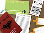 Illustration of all the documents you would need to fly from an airport