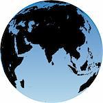 Virtual earth globe view - Asia Stock Photo - Royalty-Free, Artist: icefront                      , Code: 400-04455629