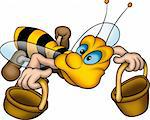 Little Bee 10 - High detailed and coloured illustration - Flying wasp with baskets Stock Photo - Royalty-Free, Artist: derocz                        , Code: 400-04460219