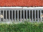 Stadium drain with grass and artificial grass Stock Photo - Royalty-Free, Artist: LeniS                         , Code: 400-04460342